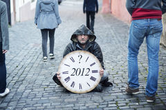 End of the World is comming. Man is waiting for end of the world Royalty Free Stock Image