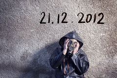 End of the World is comming. Man is waiting for end of the world Royalty Free Stock Images