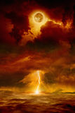 End of world. Dramatic apocalyptic background - dark red sky with full moon and lightning, end of world, judgment day. Elements of this image furnished by NASA stock image