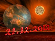 End of the world's maya prophecy. Maya prophecy on the sun next to the earth and the end of the world date in a firing red background stock illustration