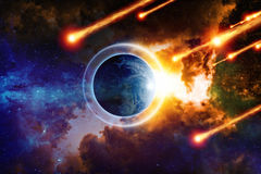 End of world. Scientific background - planet Earth is surrounded by protective shield in space from asteroid impact, save planet, end of world, red nebula in Royalty Free Stock Photos