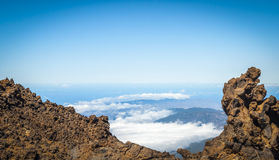 The end of the world. View fron Teide volcano. Royalty Free Stock Photo