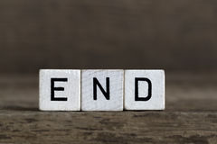 End, written in cubes Stock Images