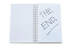 'THE END' written on notebook Stock Photo