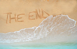 The end written in sand Stock Images