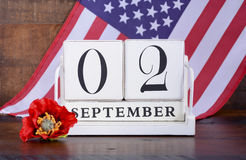 End of WWII 2 September 1945 Calendar Date. With United States flag Stock Photo