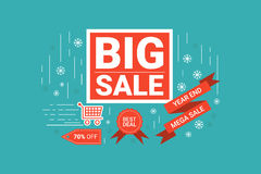 End of year big sale label. Illustration of End of year big sale label flat design concept with icons elements Royalty Free Stock Photo