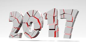 End of the year 2017 3d. Illustration Stock Images