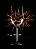 End of year. Glass of wine and firework Stock Images