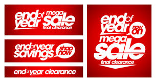 End of year mega sale banners. End of year mega sale banners set Stock Images