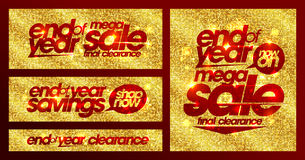 End of year sale chic golden banners set, final clearance, savings. End of year sale chic golden banners set, final clearance, mega savings Royalty Free Stock Image