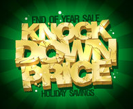 End of year sale, knock down price vector illustration with gold broken text. End of year sale, knock down price vector illustration with gold broken text Royalty Free Stock Photo