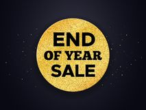 End of Year Sale vector promotion banner. End of Year Sale promo vector background. Promotion banner for Christmas clearance. Golden circle with typography on Royalty Free Stock Photos