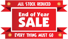 End of year sale red  label or badge isolated on white bac Royalty Free Stock Images