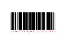 End of year sale savings 50% off present with barcode. Sale concept Stock Photos