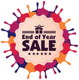 End of year sale vector label or badge isolated on white backgro Stock Photos