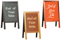 End of year sale vector sign on traditional wood framed chalkboard. Shop sign or advertisement boards or Pavement Sign, Exhibition Sign and footpath sign stock illustration