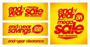 End of year sale yellow banners. Royalty Free Stock Photography