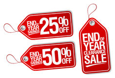 End of year savings labels set. Stock Photo