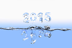 End of year 2014 splash. Water surface with the numbers of 2014 splashing into water and 2015 floating above the water surface. All the numbers appear also as Royalty Free Stock Photo