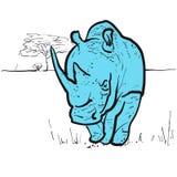 Endangered rhino in savannah Royalty Free Stock Photo