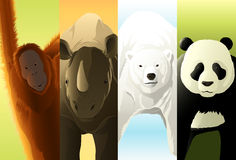 Endangered Species. Four endangered species  poster Royalty Free Stock Photography