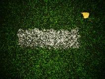 Ende der Fußballsaison Trockenes Birkenblatt gefallen auf dem Boden des grünen Fußballplastikrasens mit gemalter weißer Linie Dra Stockfoto