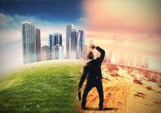 Ende der globalen Erwärmung der Zivilisation stockfotografie
