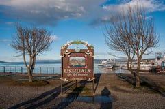 Ende der Welt in Ushuaia, Tierra del Fuego, Argentinien Lizenzfreies Stockfoto