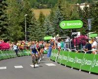 Ende des Stadiums 17 in Serre-Ritter, Tour de France 2017 Lizenzfreies Stockbild