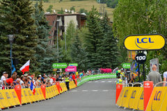 Ende von Th Stadium 17 in Serre-Ritter, Tour de France 2017 Lizenzfreie Stockbilder