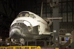 Endeavor. Shuttle Endeavor waits patiently in NASA's Vehicle Assembly Building, awaiting to be prepared for display Royalty Free Stock Image