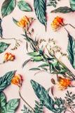 Endecha creativa del plano hecha de flores y de hojas tropicales en fondo del rosa en colores pastel imágenes de archivo libres de regalías