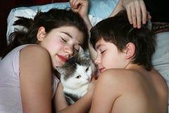 Endecha de la hermana de Brother con cierre del gato encima del retrato Imagen de archivo libre de regalías