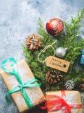 Endecha del plano del concepto del árbol del Año Nuevo de la Navidad Imagen de archivo
