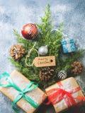 Endecha del plano del concepto del árbol del Año Nuevo de la Navidad Fotografía de archivo libre de regalías