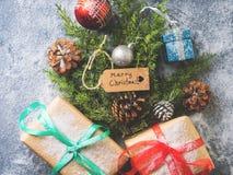 Endecha del plano del concepto del árbol del Año Nuevo de la Navidad Fotografía de archivo