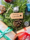 Endecha del plano del concepto del árbol del Año Nuevo de la Navidad Foto de archivo