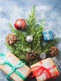 Endecha del plano del concepto del árbol del Año Nuevo de la Navidad Imágenes de archivo libres de regalías