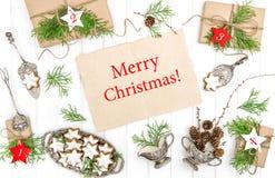 Endecha del plano de las decoraciones de los regalos de las galletas de la Navidad Fotografía de archivo