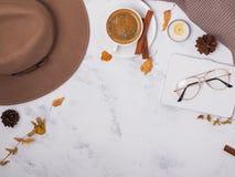 Endecha del plano de los accesorios del otoño Imagenes de archivo