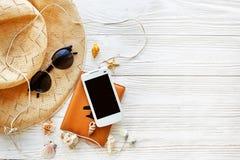 Endecha del plano del concepto de las vacaciones del viaje del verano, espacio para el texto passpo Imagenes de archivo