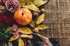 Endecha del plano del feliz Halloween o de la acción de gracias calabaza con las hojas Imagen de archivo
