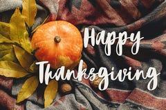 Endecha feliz del plano de la muestra del texto de la acción de gracias calabaza de otoño con color Foto de archivo