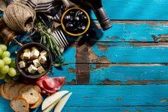 Endecha mediterránea italiana apetitosa sabrosa del plano de los ingredientes alimentarios Imágenes de archivo libres de regalías