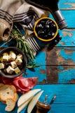 Endecha mediterránea italiana apetitosa sabrosa del plano de los ingredientes alimentarios Fotografía de archivo