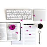 Endecha plana: cuaderno abierto, teclado, café, pluma negra y rosa, púrpuras, violette, flor roja del Gerbera con los pétalos imagenes de archivo