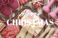 Endecha plana de la Feliz Navidad y Feliz Año Nuevo y cualquier RRPP holidy Foto de archivo libre de regalías