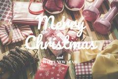 Endecha plana de la Feliz Navidad y Feliz Año Nuevo y cualquier RRPP holidy Imágenes de archivo libres de regalías