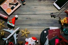 Endecha plana de la Feliz Navidad y Feliz Año Nuevo y cualquier tr holidy Foto de archivo libre de regalías